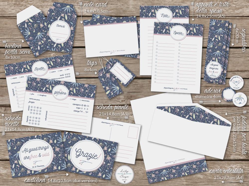 Set di cartoleria personale, include: carta intestata, busta porta semi, schede ricette, schede piante e molto altro - Lily&Sage design