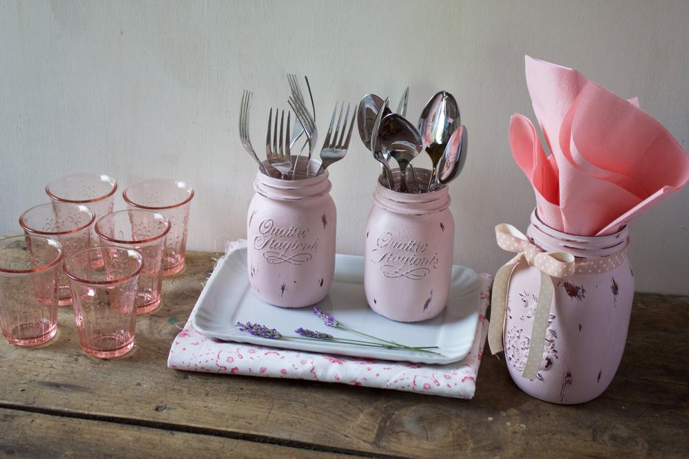 Tutorial Pittura Shabby Chic : Tutorial: barattoli di vetro decorati per una festa in stile shabby