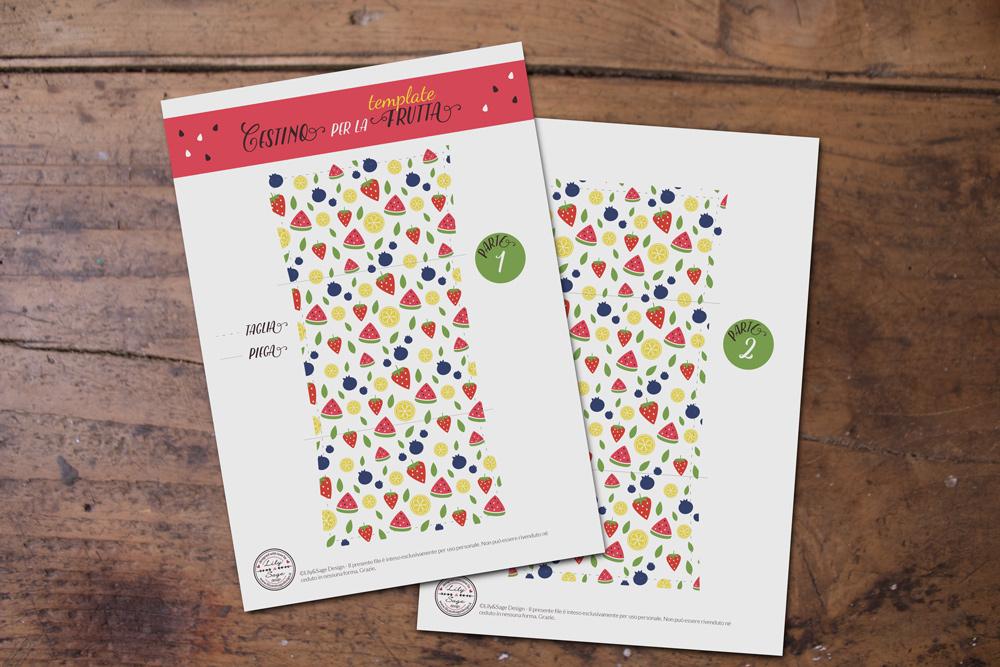 Cestino di carta per la frutta - template con pattern di frutta - Tutorial Lily&Sage Design