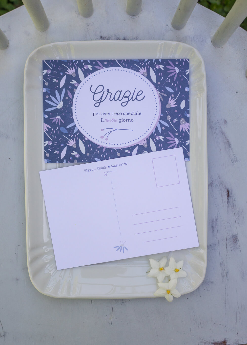 Wedding suite Echinacea - Cartolina ringraziamento Illustrazioni floreali - Lily&Sage Design