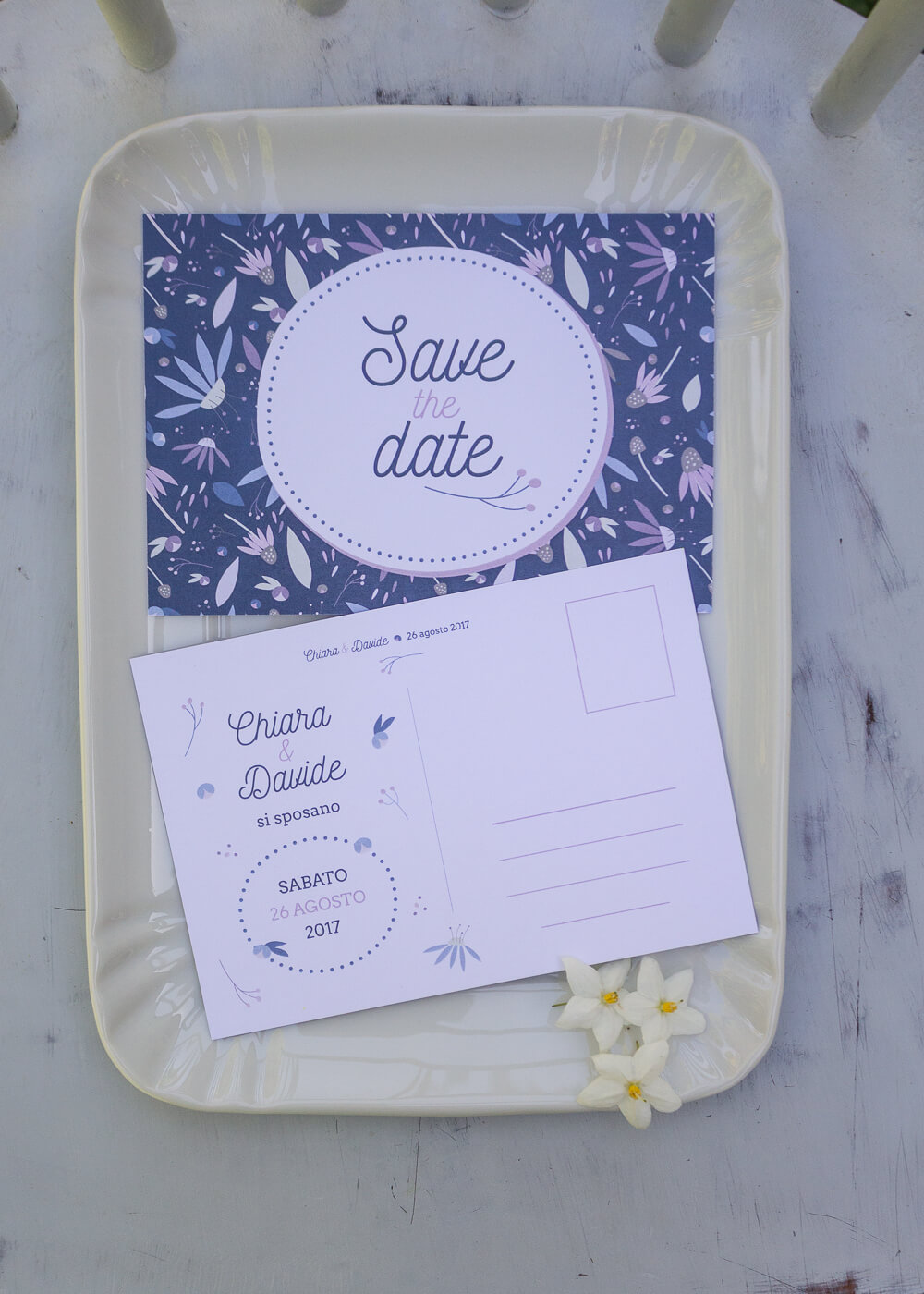 "Wedding suite Echinacea - Cartolina ""Save the Date"" Illustrazioni floreali - Lily&Sage Design"