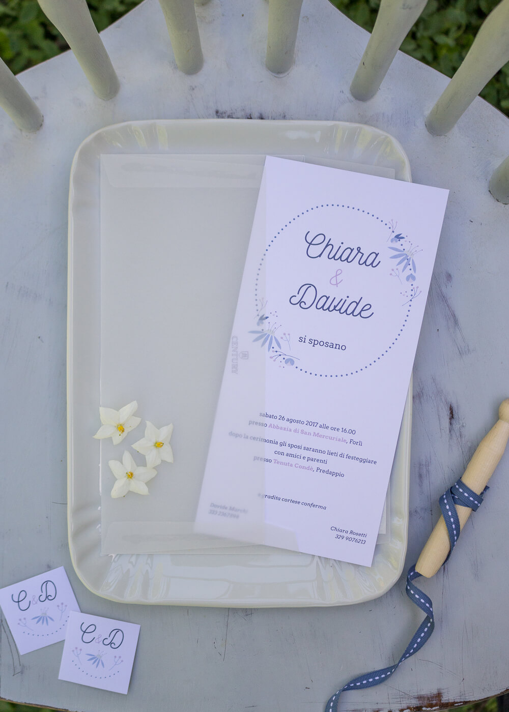 Wedding suite Echinacea - Partecipazione di matrimonio e busta semitrasparente - Illustrazioni floreali - Lily&Sage Design