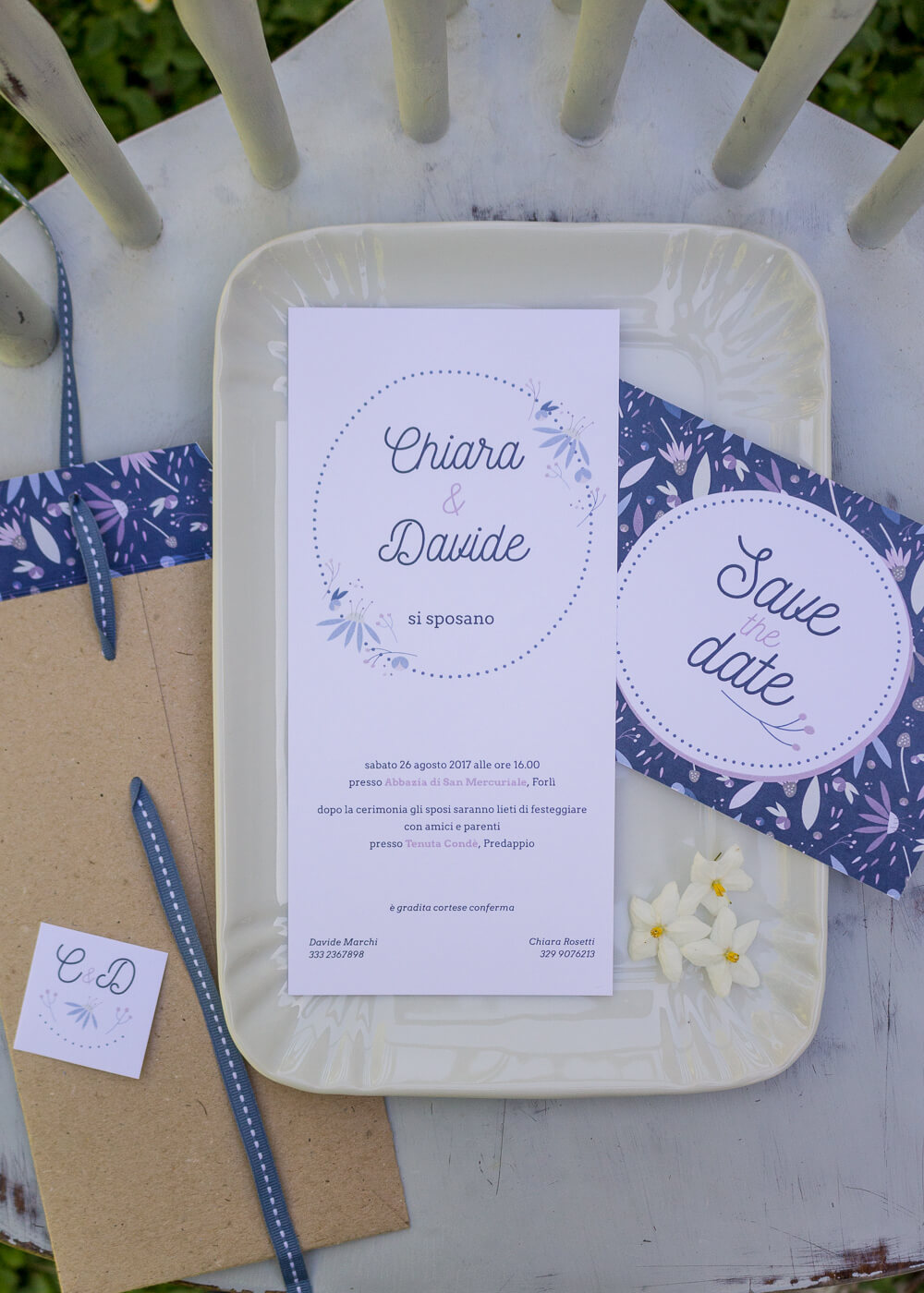 "Wedding suite Echinacea - Partecipazione di matrimonio, cartolina ""Save the Date"" e busta in carta kraft - Illustrazioni floreali - Lily&Sage Design"
