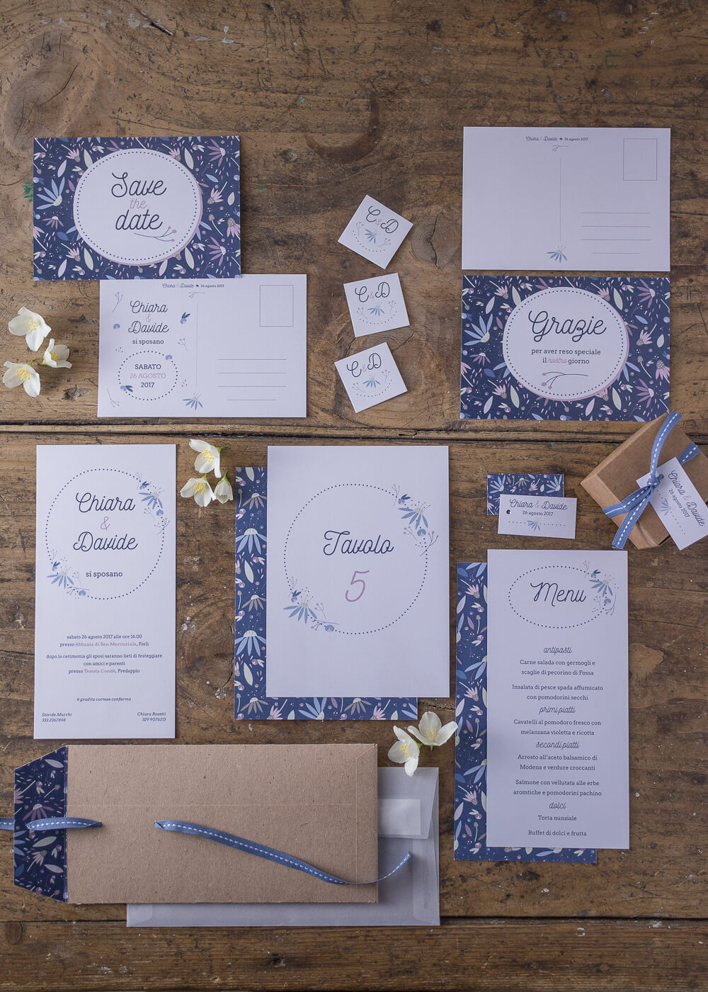 Wedding suite Echinacea - Partecipazione di matrimonio e busta in carta kraft - Lily&Sage Design