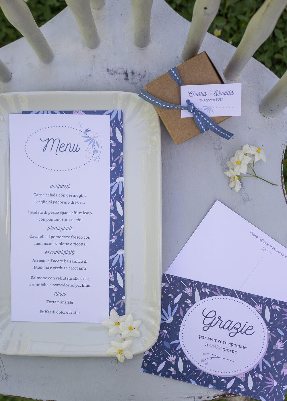 """Wedding suite Echinacea - Menù di matrimonio, cartolina """"Grazie"""" e tag bomboniere - Illustrazioni floreali - Lily&Sage Design"""
