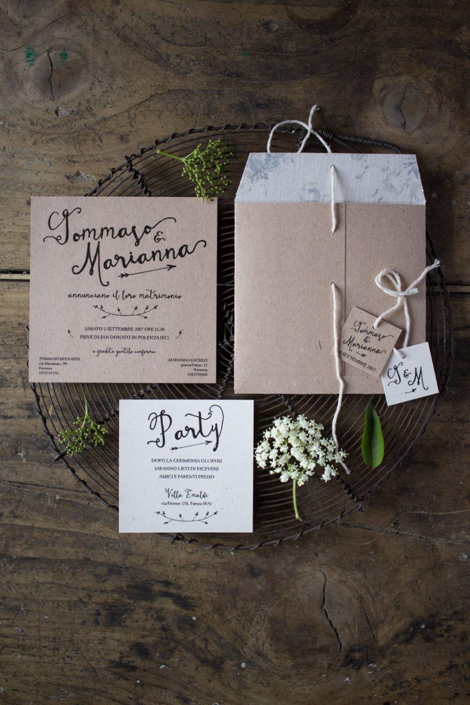 Wedding suite rustica - Partecipazioni di matrimonio rustiche - Busta rivestita in tessuto inglese - Lily&Sage Design