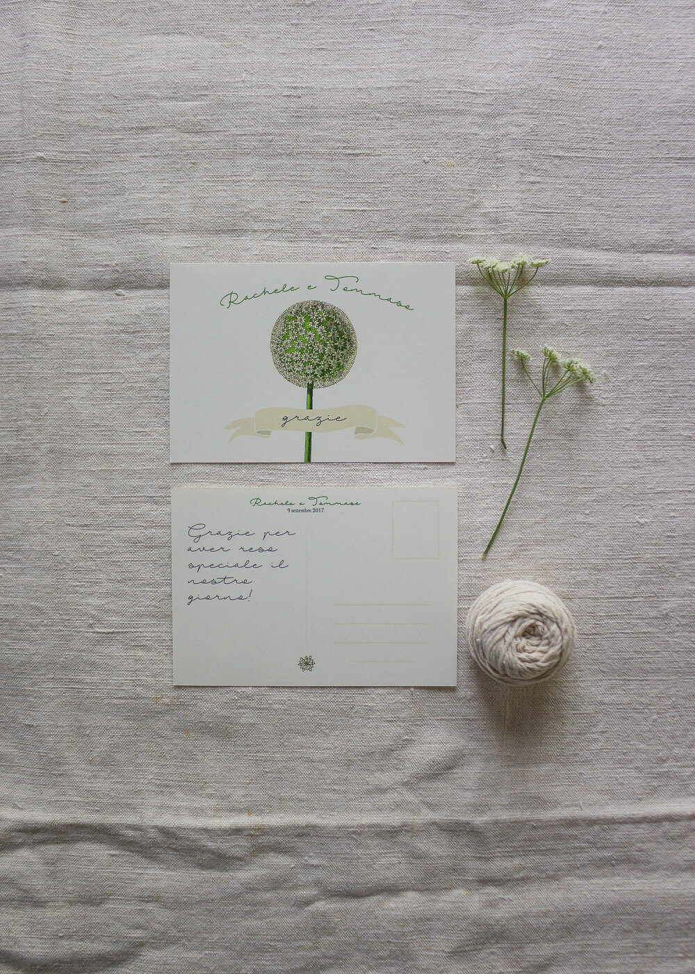 Wedding suite botanica Allium - Cartoline di ringraziamento - Lily&Sage Design
