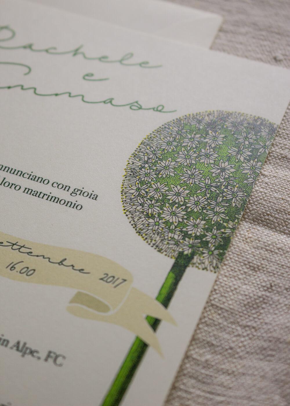 Wedding suite botanica Allium - Dettaglio - Partecipazioni matrimonio romantiche - Lily&Sage Design