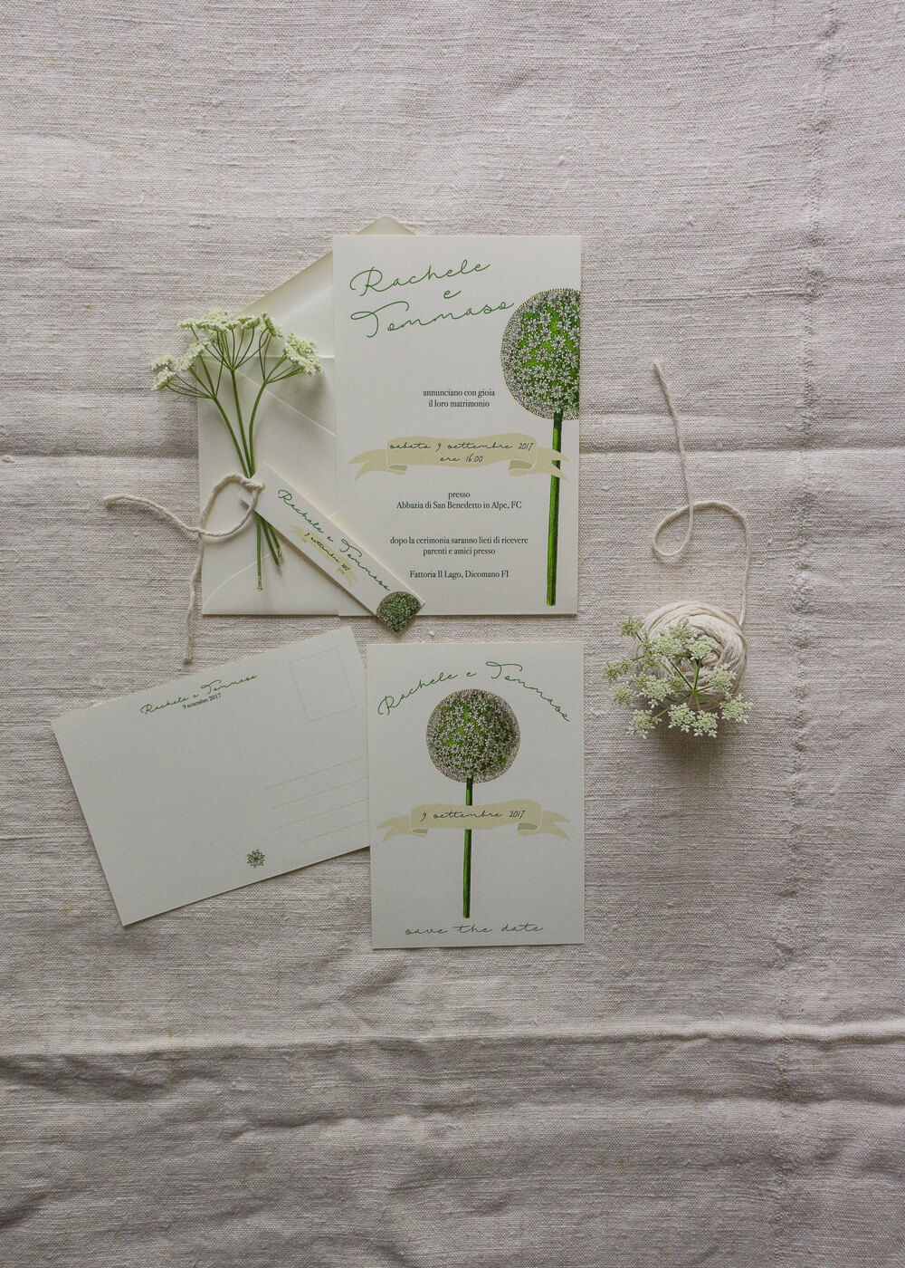 Wedding suite botanica Allium - Partecipazioni matrimonio e cartolina Save the date - Lily&Sage Design