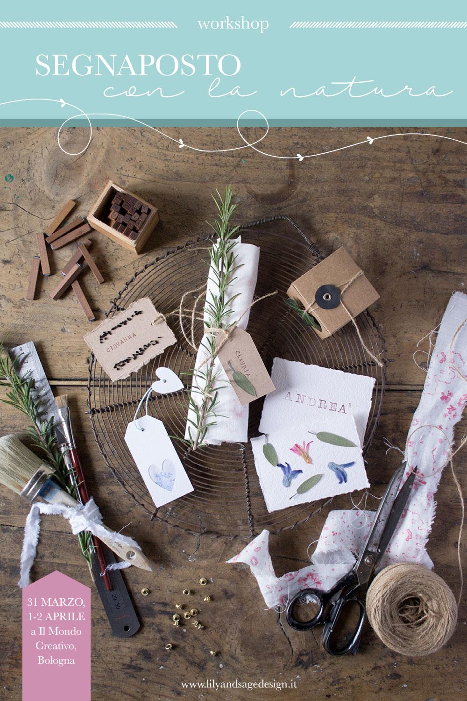Segnaposto con la natura - workshop a Il Mondo Creativo 2017 - Lily&Sage Design