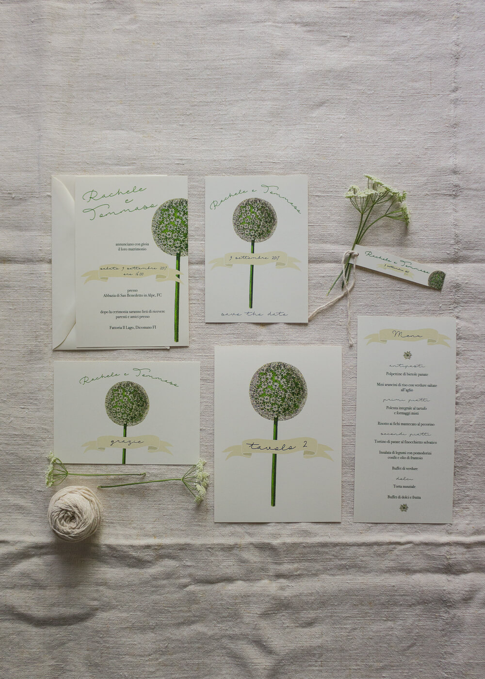 Wedding suite botanica Allium - Cartoleria per il matrimonio - Lily&Sage Design