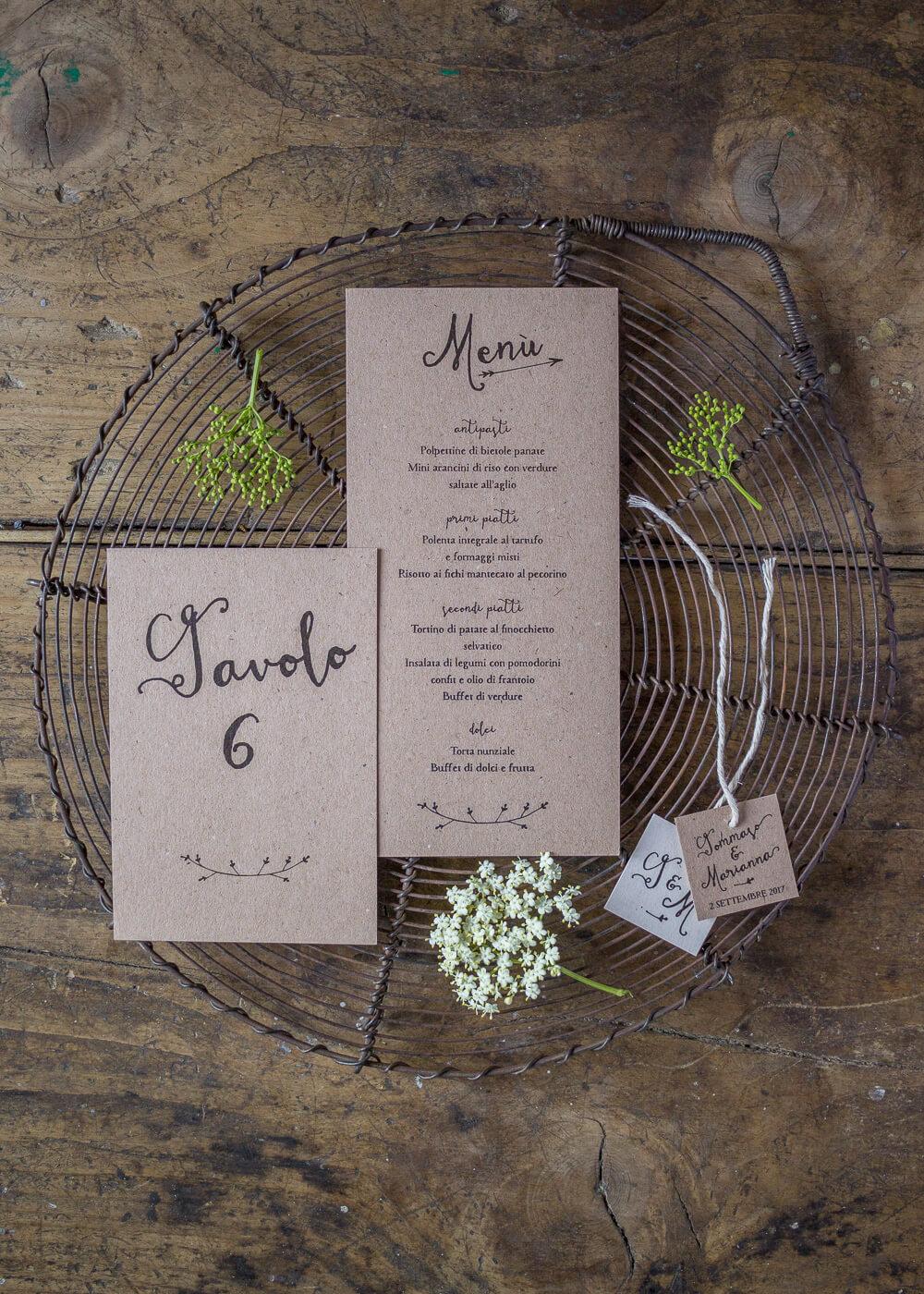 Wedding suite Campagna inglese - Segnatavolo e menù di matrimonio in carta riciclata - Lily&Sage Design