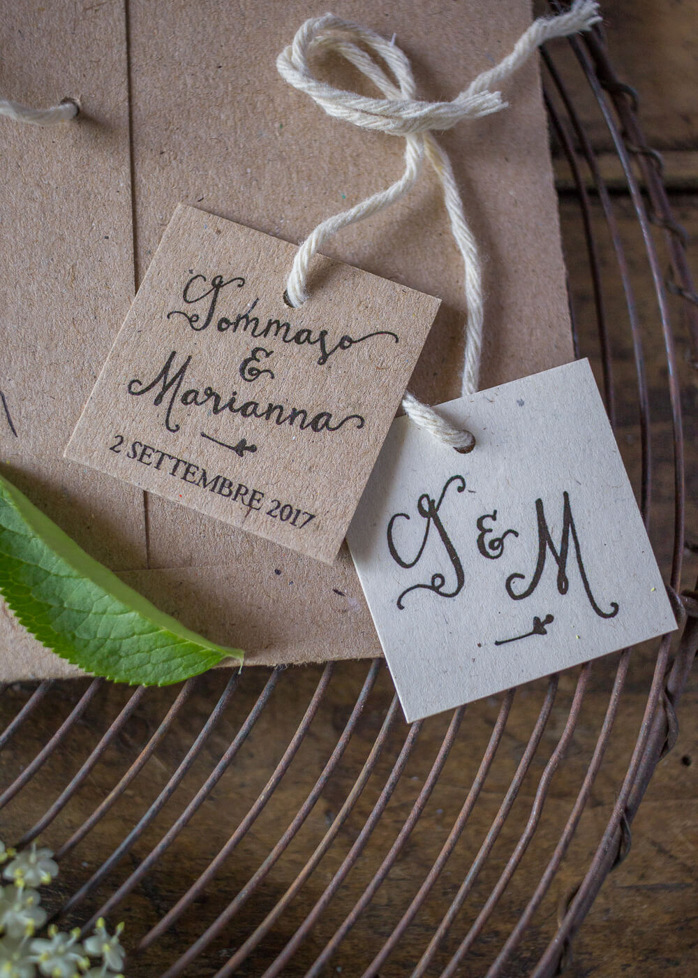 Wedding suite Campagna inglese - Tags per bomboniere o chiudi busta in carta riciclata- Lily&Sage Design