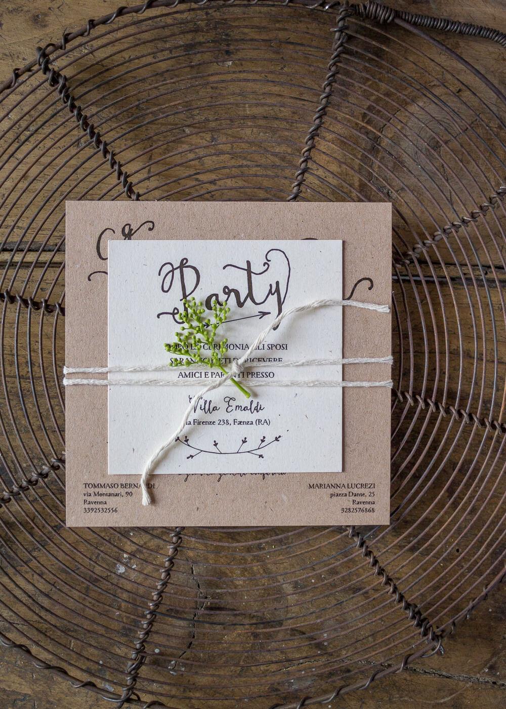 Wedding suite Campagna inglese - Partecipazione di matrimonio e invito al ricevimento in carta riciclata- Lily&Sage Design