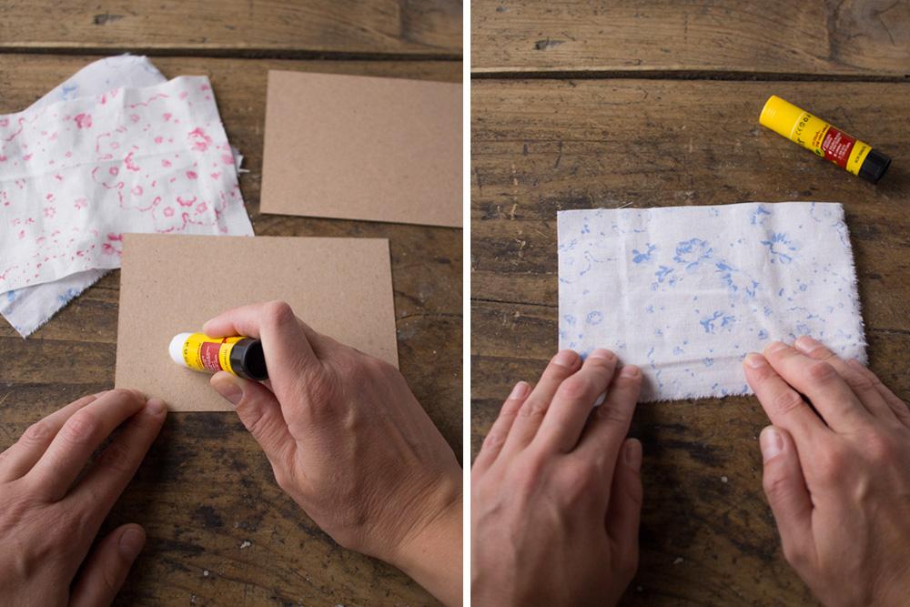 Cartoline fai da te - Cartoline rivestite in tessuto Cabbages&Roses - Incollare tessuto - Lily&Sage Design