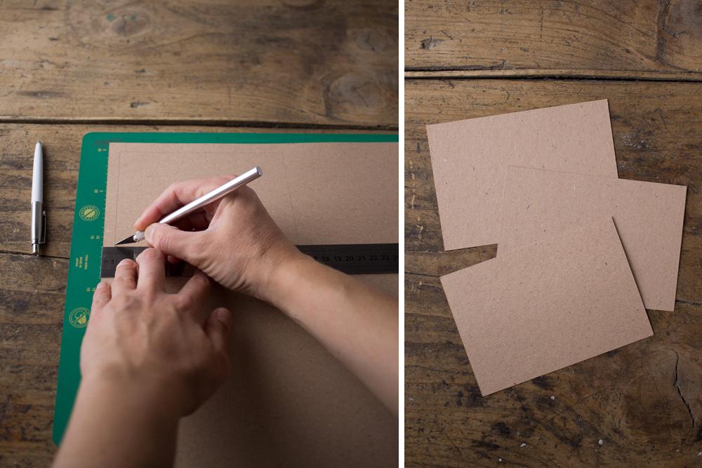 Cartoline fai da te - Cartoline rivestite in tessuto Cabbages&Roses - Tagliare il cartoncino - Lily&Sage Design