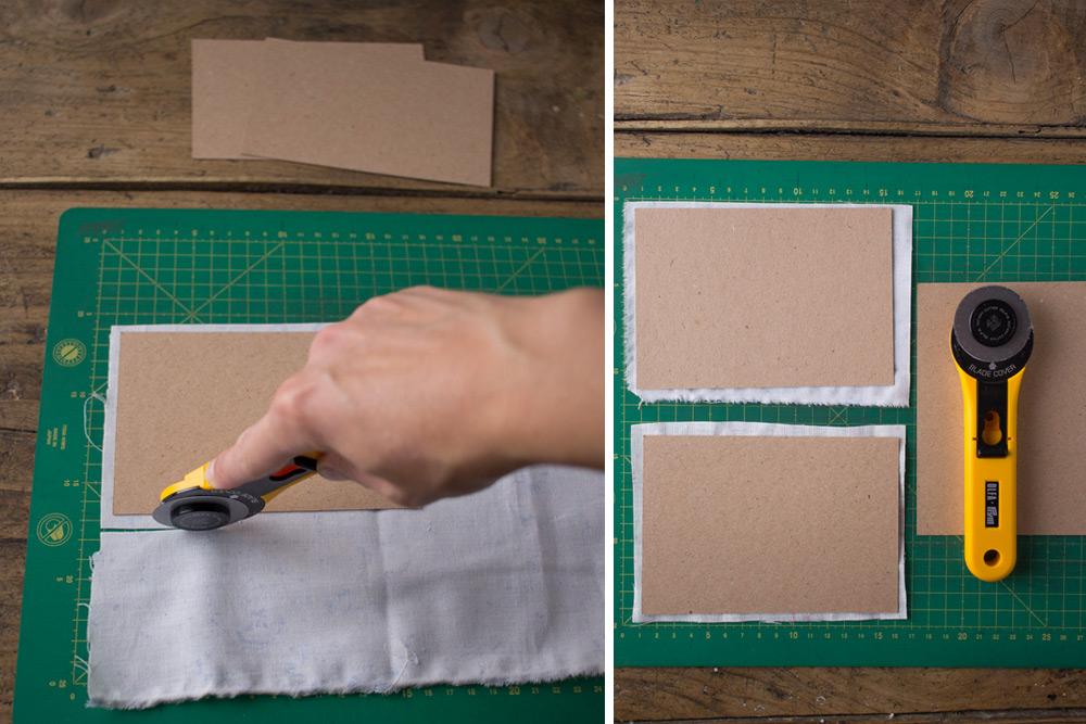 Cartoline fai da te - Cartoline rivestite in tessuto Cabbages&Roses - Tagliare tessuto - Lily&Sage Design