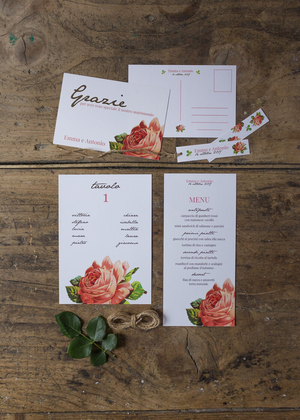Wedding suite botanica Mary Rose - Cartoleria Day-of e cartolina di ringraziamento - Stampe botaniche - Lily&Sage Design