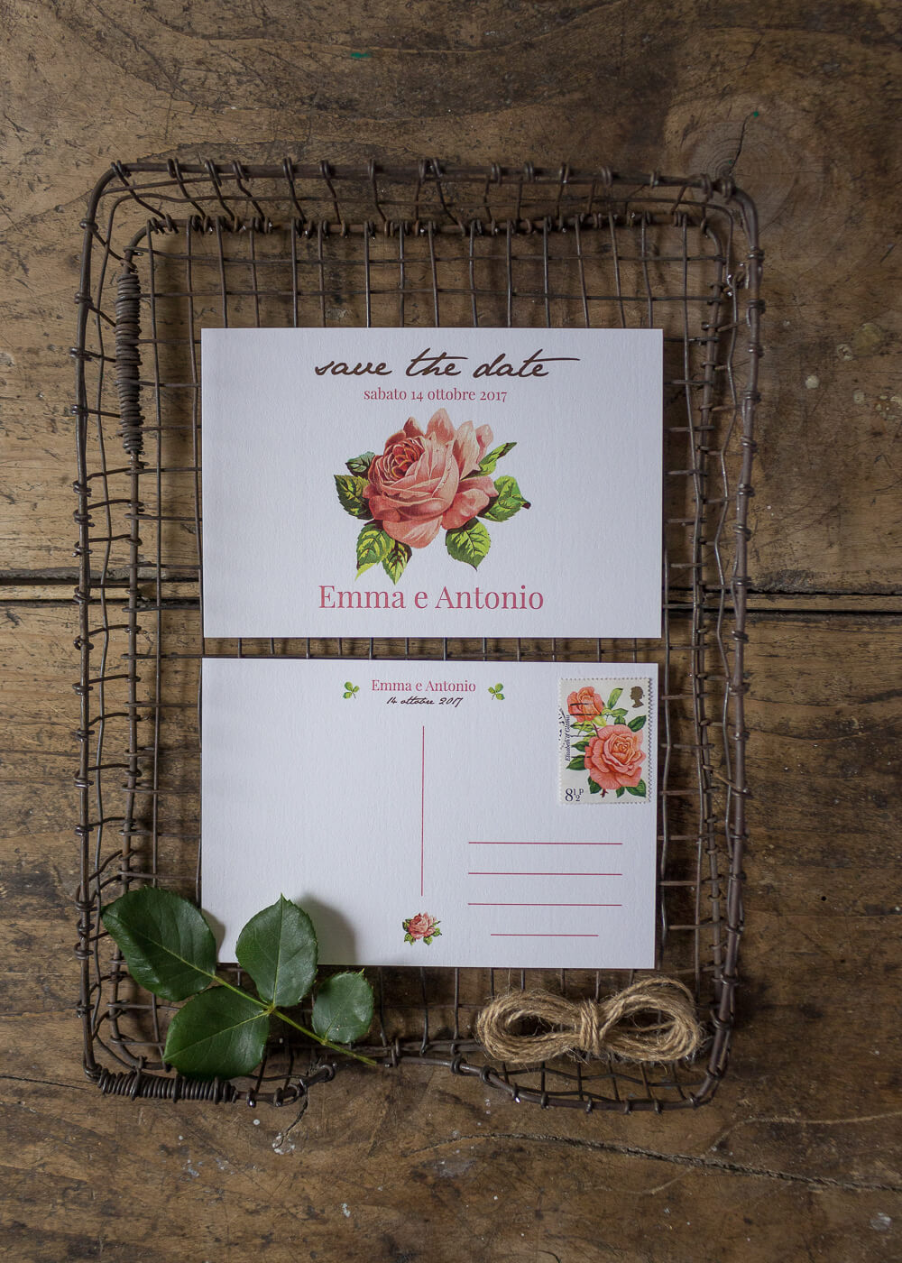 Wedding suite botanica Mary Rose - Cartolina Save the date - Stampe botaniche - Lily&Sage Design