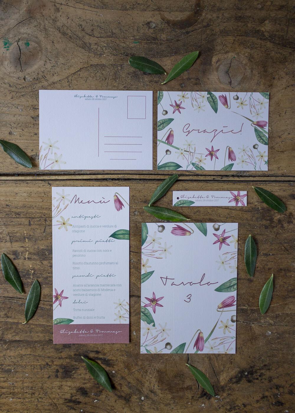 Wedding suite botanica Lillie - Cartoleria floreale per il giorno del matrimonio - Lily&Sage Design
